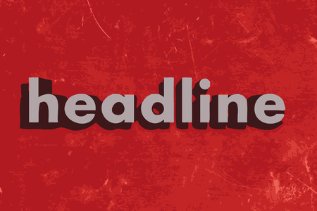 headline: headline word on red concrete wall