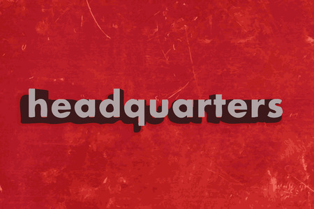 headquarter: headquarters word on red concrete wall Illustration