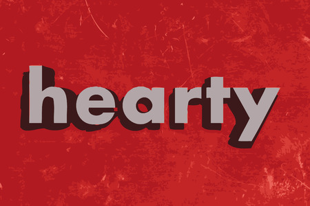 hearty: hearty word on red concrete wall Illustration