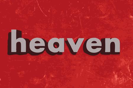 heaven: heaven word on red concrete wall