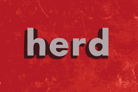 herd: herd word on red concrete wall
