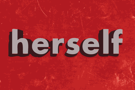 herself: herself word on red concrete wall