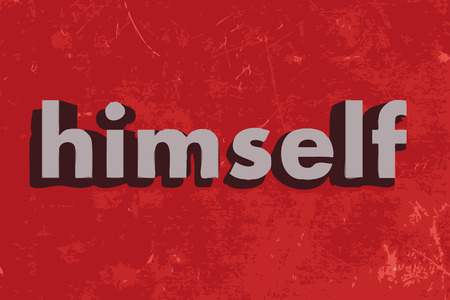 himself: himself word on red concrete wall