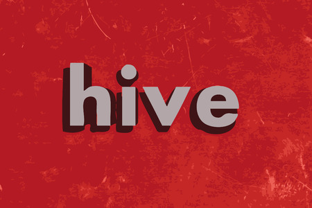 hives: hive word on red concrete wall Illustration