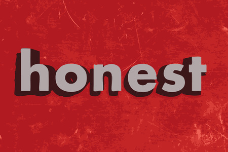 honest: honest word on red concrete wall