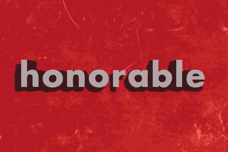 honorable: honorable word on red concrete wall