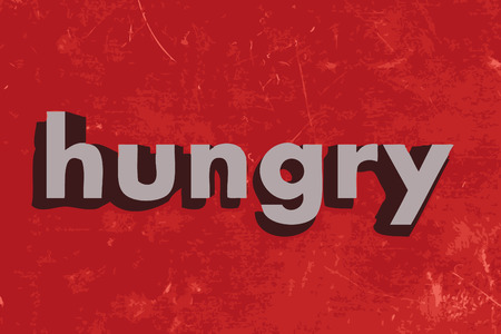 starve: hungry vector word on red concrete wall