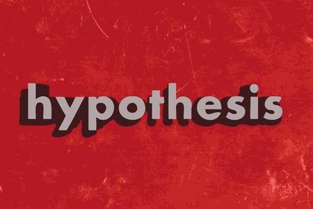 hipótesis: palabra hipótesis sobre rojo pared de hormigón Vectores