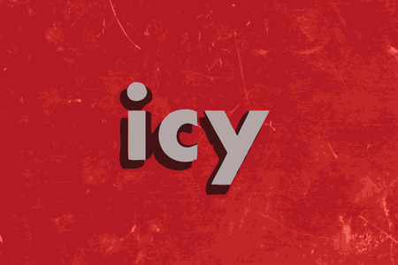 icy: icy word on red concrete wall Illustration