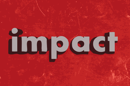 impact word on red concrete wall Illustration