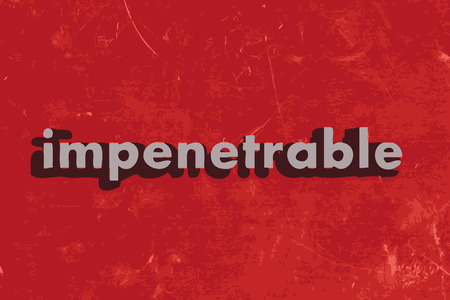 impenetrable: impenetrable word on red concrete wall Illustration