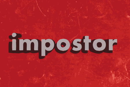 impostor: impostor word on red concrete wall Illustration