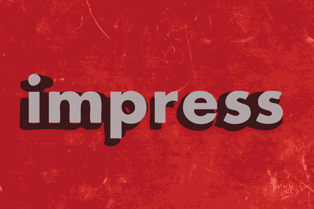 impress: impress word on red concrete wall Illustration