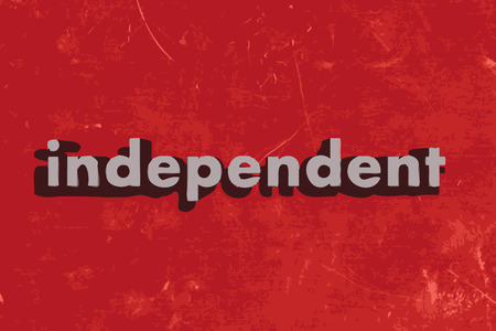 independently: independent vector word on red concrete wall