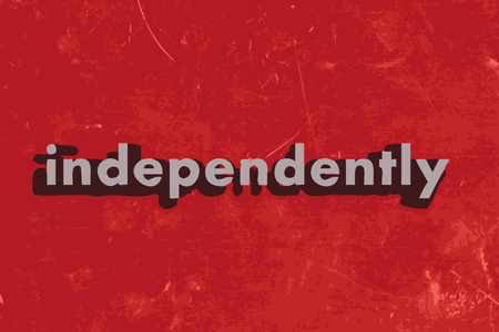 independently: independently word on red concrete wall Illustration