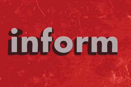 inform: inform vector word on red concrete wall