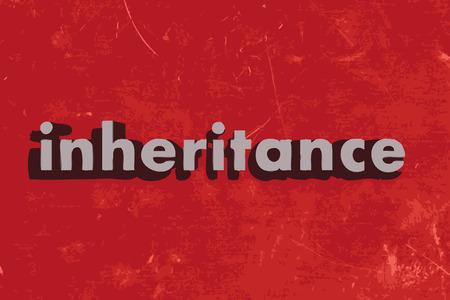 inheritance: inheritance word on red concrete wall Illustration