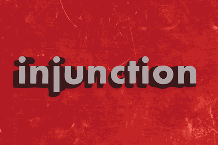 injunction: injunction vector word on red concrete wall Illustration