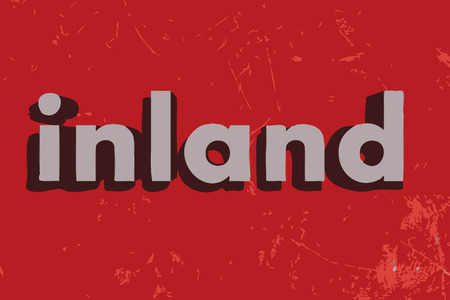 inland: inland word on red concrete wall Illustration