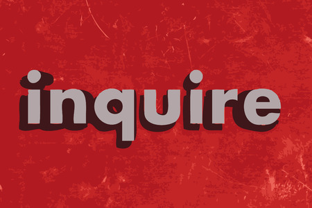 inquire: inquire word on red concrete wall Illustration