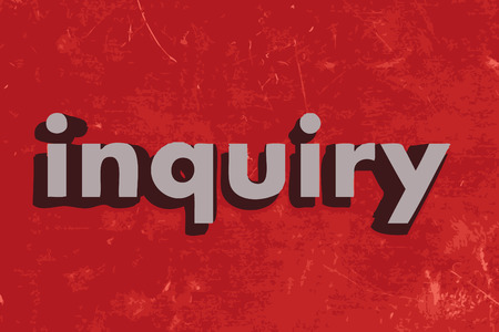 inquiry: inquiry vector word on red concrete wall Illustration