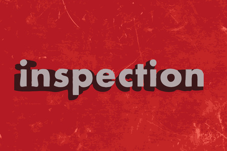 inspeccion: palabra de inspecci�n en la pared roja de hormig�n Vectores