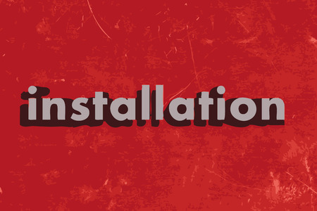 installation: installation word on red concrete wall Illustration