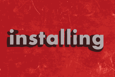 installing: installing word on red concrete wall Illustration