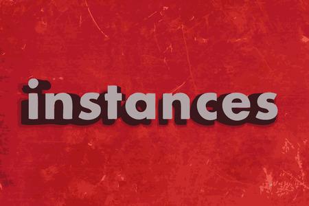instances: istanze parola sul muro di cemento rosso Vettoriali