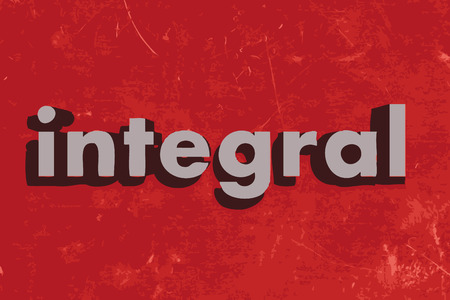 integral: integral word on red concrete wall Illustration