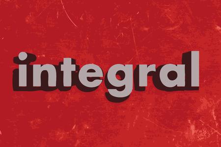 integral: palabra integral en rojo muro de hormig�n Vectores