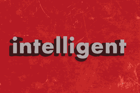 intelligent: intelligent word on red concrete wall Illustration
