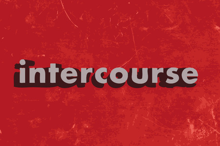 intercourse: intercourse word on red concrete wall Illustration