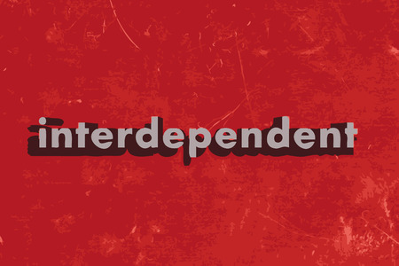 interdependent: interdependent word on red concrete wall Illustration