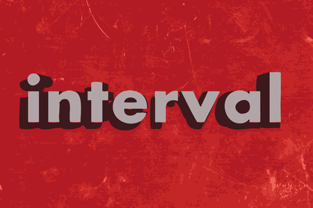 the interval: interval vector word on red concrete wall Illustration