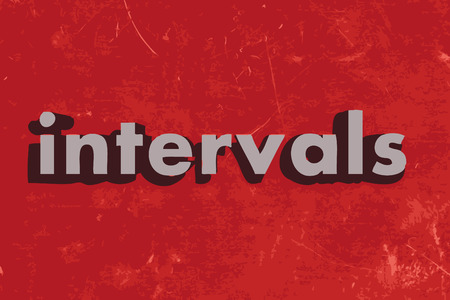 intervals: intervals word on red concrete wall Illustration