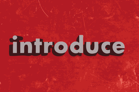 introduce: introduce word on red concrete wall Illustration