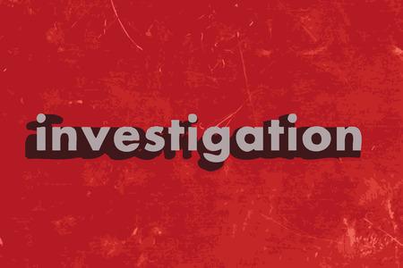 investigacion: palabra investigaci�n en rojo muro de hormig�n