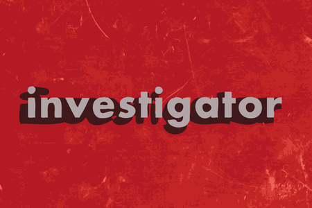 investigator word on red concrete wall Illustration