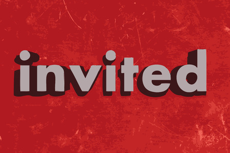 invited: invited vector word on red concrete wall