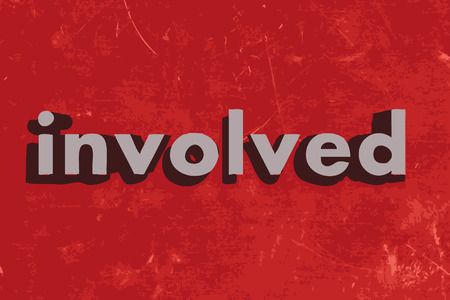 involved: involved word on red concrete wall Illustration
