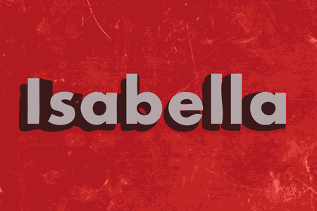 Isabella word on red concrete wall Illustration