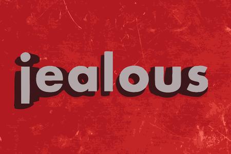 jealous: jealous word on red concrete wall