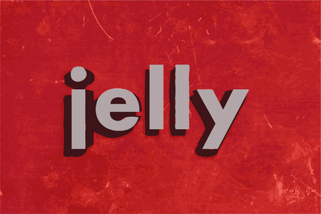 jelly: jelly word on red concrete wall