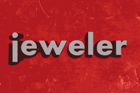 jeweler: jeweler word on red concrete wall