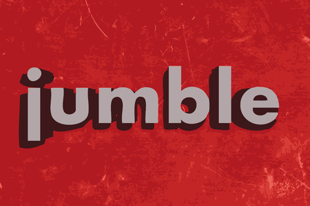 jumble: jumble word on red concrete wall