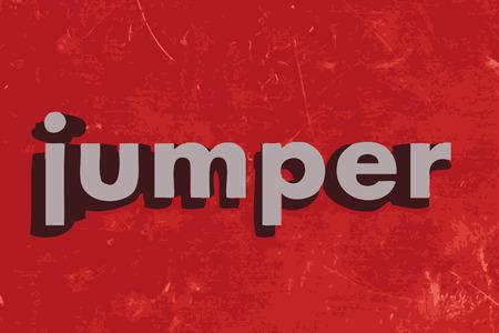 jumper: jumper word on red concrete wall Illustration