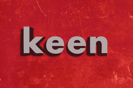 keen: keen word on red concrete wall Illustration