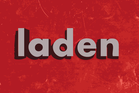 laden: laden word on red concrete wall