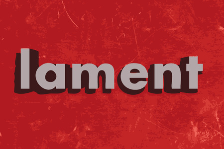 lament: lament word on red concrete wall Illustration